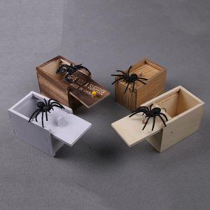 Broma de madera Susto de la araña caja escondida en la caja reproducción trucada Cajas broma Scarebox fiesta de Halloween del juguete de la mordaza de la novedad