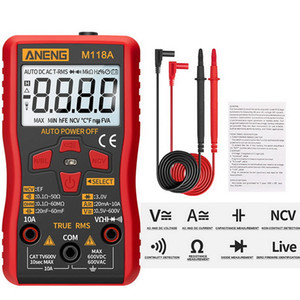 M118A multímetro digital Tester Auto Mmultimetro verdadero valor eficaz Tranistor Medidor de Retención con NCV datos de resistencia actual del medidor