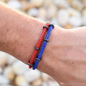 Beichong Best seller 2 layers stingray bracelet with top quality plated stainless steel buckle stingray leather bracelet