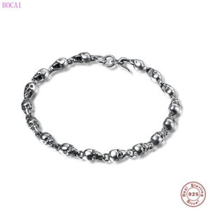 BOCAI s925 sterling silver rings for women 2020 new fashion trend retro Thai Silver Skull Bracelet personality jewelry