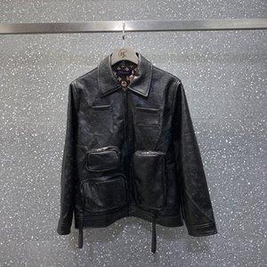 20ss stilista di alta qualità allentati uomini donne tasche multiple PU giacca a vento con cappuccio coppia Mens maglione casuale nero