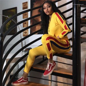 Suits Striped Print Panelled Womens 2pcs Set Sportwear Clothing Casual Womens Tracksuits Sexy Ladies Long Sleeve Tshirts Long Pants