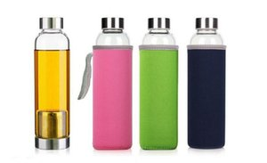 2020 22oz Glass Water Bottle BPA Free High Temperature Resistant Glass Sport Water Bottle With Tea Filter Infuser Bottle Nylon Sleeve