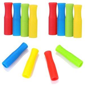 DHL bouchon de gel de silice Accessoires dents antichocs paille silicone manches paille réutilisable en acier inoxydable de 6 mm Straw manches Protecteur