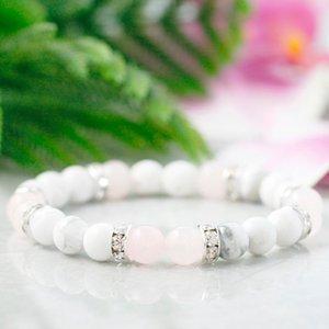 MG0944 Natural White Howlite Girls Bracelet Heart Chakra Love Lucky Bracelet Healing Rose Quart z Dainty Yoga Mala Bracelet