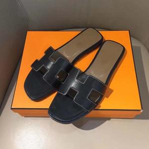 Luxury Designer Slipper Sandales de qualité en cuir vachette mode Super Star Casual flip Slipper Sandy Flops Taille 34-43 Avec boîte