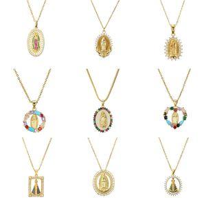 Virgin Mary Colgante Collar Oro Bijoux Collar de cristal Mujeres Moda Colgante Joyería Católica