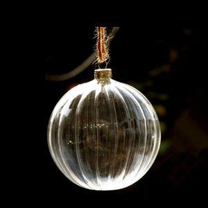 12pcs pack Diameter=8cm Middle Size Striped Hanging Glass Globe Transparent Christmas Glass Pendant Festival