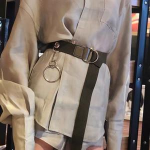 Punk Canvas Belts With Ring Pendant Harajuku Ladies Long Waist Strap Casual Fashion Women Men Jeans Trouser01
