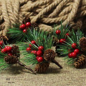 Искусственные пластиковые ягоды Pine Leaf Natural Pine Cone Болл Christmas Xmas Tree Wedding Gift Box Венки Craft украшение DHE1893