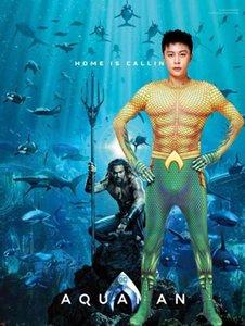Thème Costume Costume Party et des vêtements de carnaval Aquaman Cosplay Hommes Vêtements Halloween Designer Hero combis