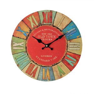 Home Wall Decor Large Wall Clock Modern Design Imitation Wooden Hanging ZAKAKA Vintage Silent Decor Clocks