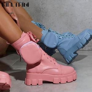 RIBETRINI femminile pizzo Marca Platform Scarpe Moda Borse caviglia Stivali Donna 2020 Chunky Moda Moto Stivali
