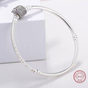 Vente en gros chaud authentique argent 925 Bracelet Signature avec serpent cristal Bracelet Fit Femmes Perle Charm Pandora DIY