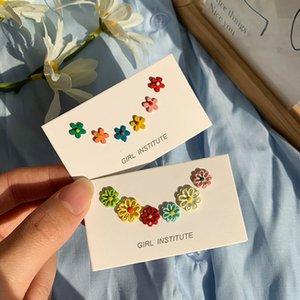 dişi Yaz Takı hediyeler için kadınlar Renkler Çiçekler Küpeli için USTAR New'in 6adet saplama Küpe seti