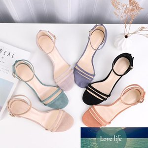 Women's Sandals Summer Solid High Heels Shoes Woman Ankle Strap Narrow Band Cover Heels Elegant Casual Wedding Career Shoes CY200518
