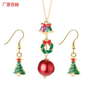 European and American creative jewelry versatile Christmas series oil bell Snowman Santa Necklace Earring Set