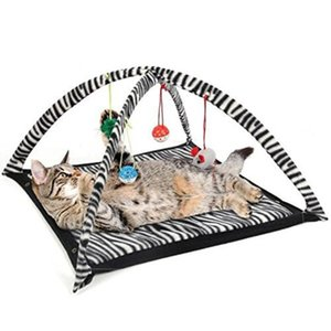 Funny Cat Play Tent With Hanging Ball Toys Balls Cat Bed Tent Kitten Mat Exercise Activity Playing Blanket Portable Pet Supplies