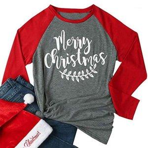Women Clothes Designer Xmas Long Sleeved Autumn Spring Tees Merry Christmas Tshirts