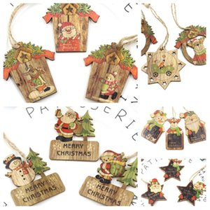 Étoile du Père Noël bonhomme de neige de Noël carte bois décoration d'arbre de Noël en bois artisanat en bois Pendentif 3pcs / lot T2I51457