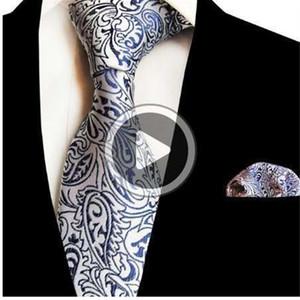 JEMYGINS New Floral Tie Mens Mouchoir Set Jacqrd en soie Cravate 8cm rayé Paisley cravate pour les hommes d'affaires Costume de mariage