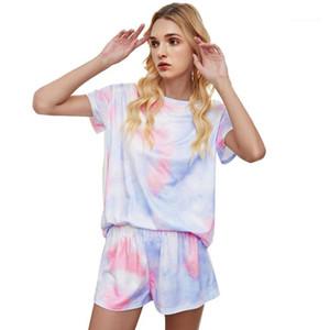 Tshirt e sciolto Pantaloncini Famale Sleepwear Donna Tie Dye Pajama Set manica corta girocollo
