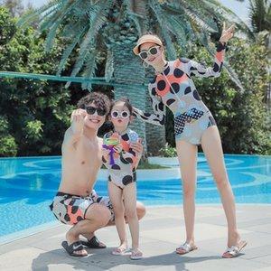 uuOWC родитель-ребенок Swimsuit женщин пят пляжные шорты мило ВС доказательство купальник Цельный мужской мать и дочь с длинными рукавами breifs