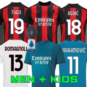 AC Milan 20 21 fútbol Jersey IBRAHIMOVIC 11 Paquetá Bennacer Romagnoli 2020 2021 camiseta de fútbol THEO REBIC maillot de los hombres + los niños equipación KAKA
