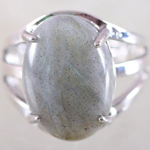 1Pcs Women Ring Natural Stone Gray Labradorite Oval Cabochon CAB Beads Adjustable Finger Ring Jewelry Gift K161