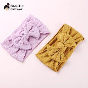 27pcs / lot Knot Bow Nylon Bandeaux torsades larges coton doux headwraps Hairwear Noël Accessoires cheveux pour les filles et les enfants
