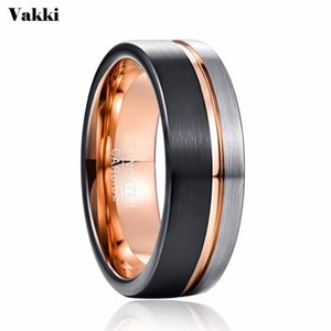 VAKKI Band Men Rose Engagement Black Jewelry Men's Ring Tungsten Ring Wedding Gold Party 8mm Bague Homme Nmuvx