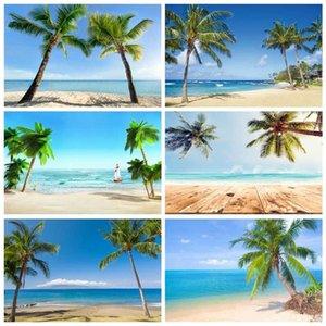 Laeacco Tropical Palms Sea Tree Beach Areia Céu azul do feriado do bebê Scenic foto de fundo cenários fotográficos para Photo Studio