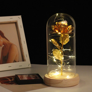 3 Colors Simulation Cover Gold Foil Wooden Glass Dome Valentine's Day Gifts Led Rose Lights Christmas R0u1