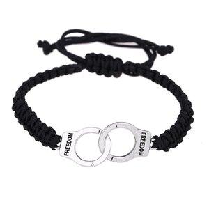 Wholesale Hand-knitted Handcuffs Bracelets Braided Rope Freedom Adjustable Weaving Hand Bracelet Unisex Retro Punk Charm Pendant Jewelry