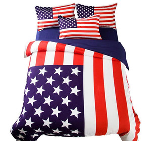 King Size American Flag Bedding Set Single Double Full UK USA Flag Bed Sheet Quilt Cover Pillowcase 3 4pcs HomeQQ