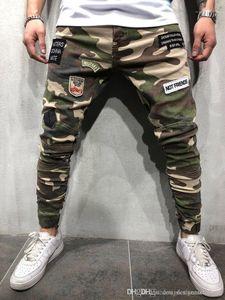 Lungo tratto jeans patch Mens pantaloni della matita modo raffredda l'esercito verde Mens Pantaloni Camouflage Skinny Mens