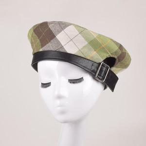 JIN-Swhbias Mulheres Boinas manta Lether fivela metálica Cotton Beret Hat 2020 senhoras inverno New Outono chapéu amarelo Octagonal Caps