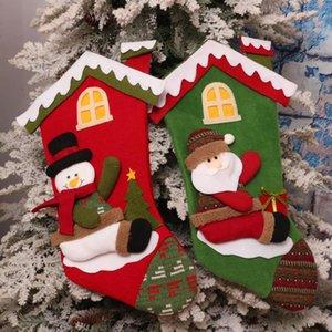 Halter 25 # Christmas Stockings Dekor Trumpf-Geschenk-Beutel-Socken-Weihnachtsbaum-hängender Anhänger Sack Geschenk Kinderparty Party Decor