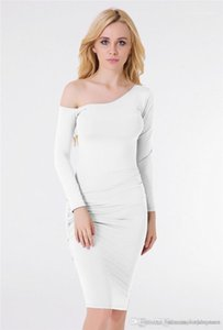 Ruched Spring Pure Color Women Dress Fashion Designer One Shoulder Female Dresses Casual Panelled Apparel with