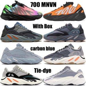 새로운 카니 예 웨스트 (700) 오렌지 탄소 블루 OG를 솔리드 그레이 남성 여성 운동화 타이 - 염색 신발을 실행 V1, V2 mnvn 웨이브 러너 반사 망