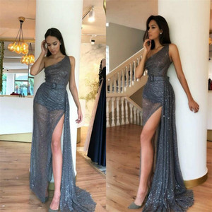 Glitter Sexy High-split A-line Evening Dresses Sequins Sash One-shoulder Sleeveless Formal Bling Prom Dress Ruched Custom Made Party Gown