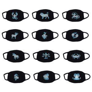 Nuovo creativo Constellation Mask cotone traspirante Anti Polvere Smog, Viso, Bocca Maschere 12 segni dello zodiaco Bocca mascherina protettiva
