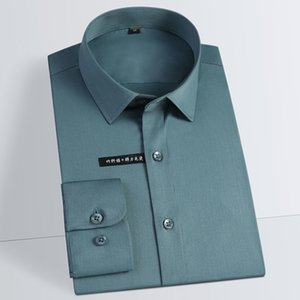 Non-Iron Elastic bamboo fiber men solid dress shirt long sleeve square collar Man's shirt socal mens clothing pocketless T200914