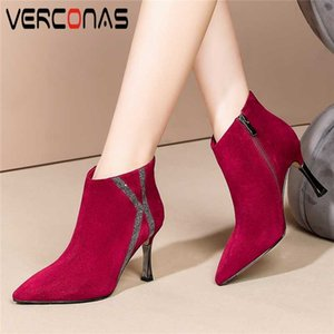 VERCONAS 2020 High Quality Women Ankle Boots Autumn Winter New Rhinestone Shoes Woman Concise Elegant Kid Suede Thin Heels Boots