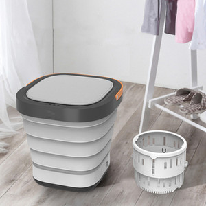 110V 220V Electric Mini Household Washing Machine Foldable Barrel Type Portable Washer With Dehydration Function For Travel Trip