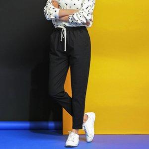 Fashion Autumn Summer Casual Pants Women Trouser Cotton Linen Pants Elastic Waist Harem Pencil Pockets Plus Size Trousers