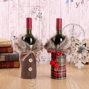 Creative New Wine Cover with Bow Plaid Linen Bottle Clothes with Fluff Creative Wine Bottle Cover Fashion Christmas Decoration AAB2025
