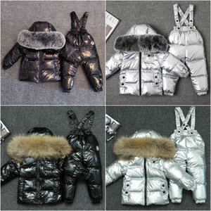 2020 new winter children's cold-proof down jacket Overalls big fur collar boys and girls top fashion designer winter ski suit