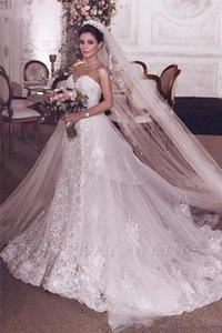 Vintage Full Lace 2020 Wedding Dresses Crystal Beading Overskirts Long Formal Bridal Gowns Sweetheart Neck Plus Size vestidos de novia