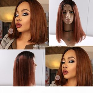 Full Lace Human Hair wigs Bob Wigs Ombre Two Tone T1B 30 Straight Brazilian Virgin Hair 150 Density Natural Hairline Glueless Bleached Knots